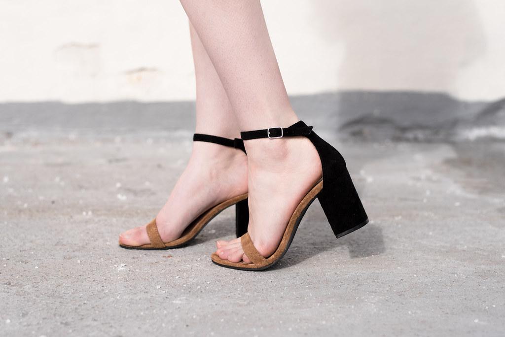 Black and Brown Suede Sandals on juliettelaura.blogspot.com