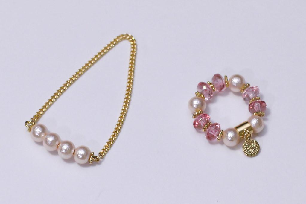 ネックレス、ブレスレット①ピンク-1
