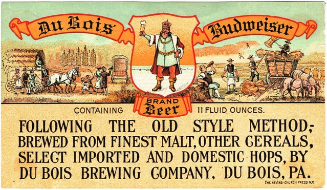 Du-Bois-Budweiser-Beer-Labels-DuBois-Brewing-Co--Pre-Prohibition
