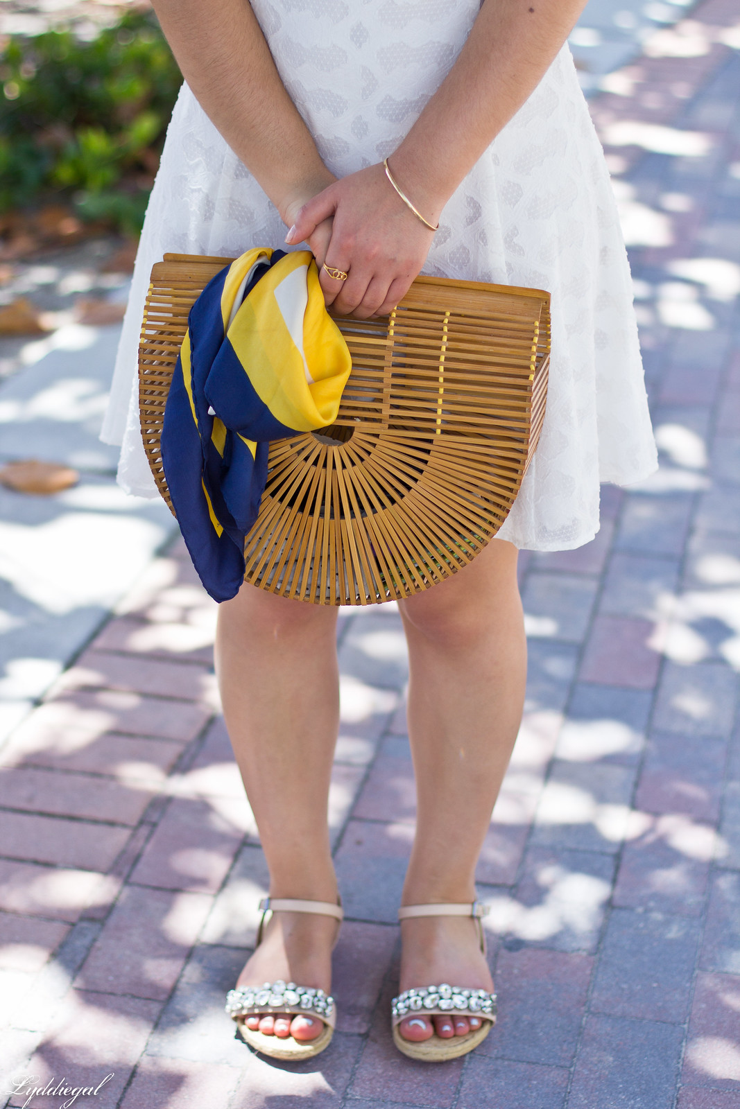 white off the shoulder dress, bamboo half moon purse, jeweled sandals-1.jpg