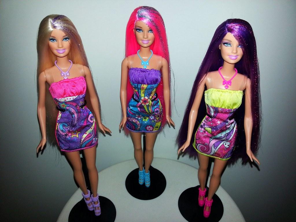 Hairtastic Barbie Dolls 2012 Colorful Ladies Trickles
