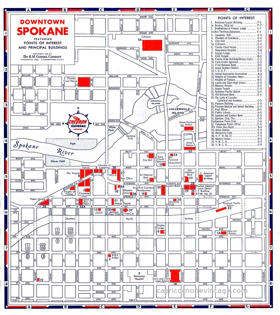 1956 downtown spokane map illustrated map of downtown spok Flickr