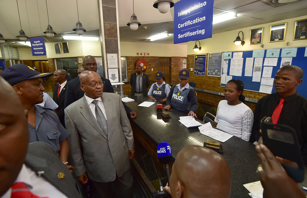 Image result for Images of zuma at the police station