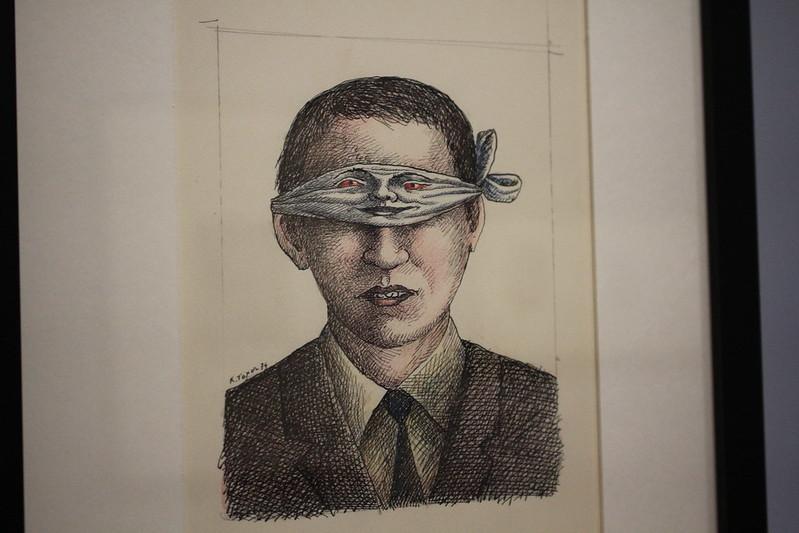 Sans titre, Roland Topor, 1975, dessin pour la couverture d'Histoires comme si de Gérard Klein, éditions 10/18 - Exposition Topor à la BnF