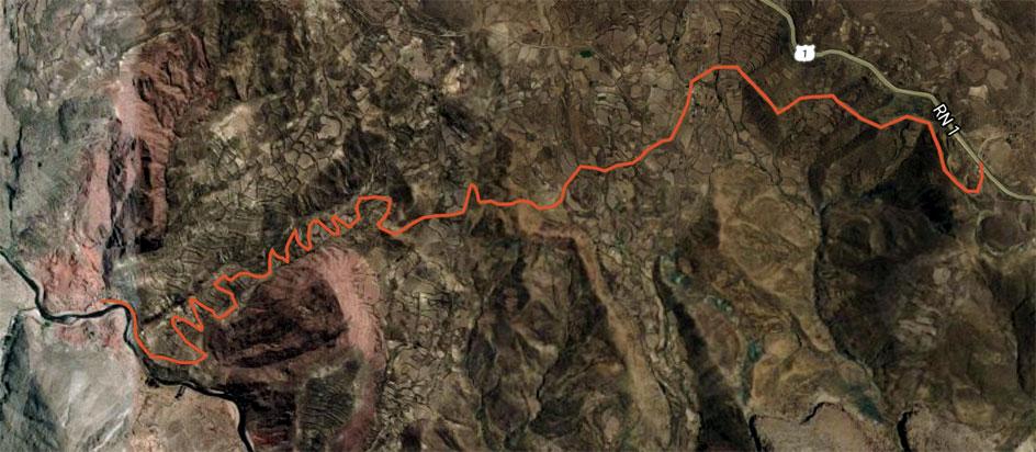 Los últimos 6 kilómetros de tierra – Google maps, febrero 2017.