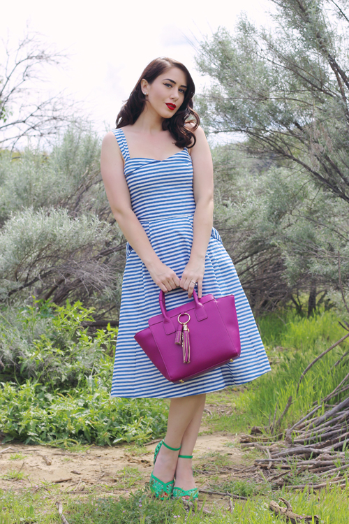 Emily and Fin Pippa Dress in Blue Stripe Cuore and Pelle Abigail Bag in Orchid