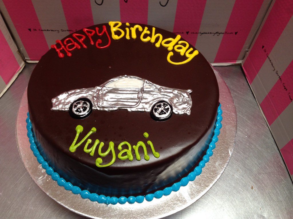 Piped car design on a standard wicked chocolate cake iced Flickr