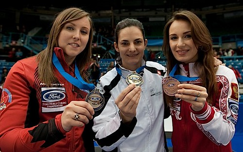 Saint John N.B.Mar23_2014.Ford World Woman's Curling Championship.(L-R)Silver Medal Canada skip Rachel Homan,Gold Medal Switzerland Binia Feltscher,Bronze Russia Anna Sidorova.CCA/michael burns photo | by seasonofchampions