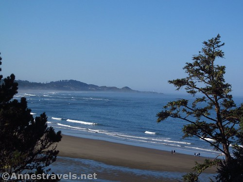 Views from the top of the stairs leading down to the beach near the Devil's Punchbowl Parking Area, Oregon