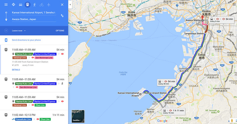 google map kansai airport to awaza