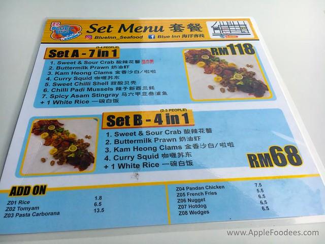 Blue Inn Seafood Kepong Menu