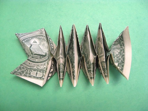 Dollar bill fish bone design ricky saito diagrams n a for Dollar bill origami fish