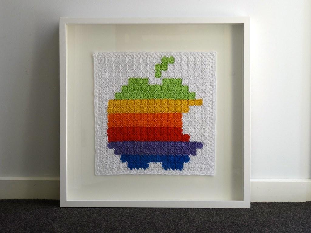 Crochet Apple logo 5 - framed | Framed in a large RIBBA box … | Flickr