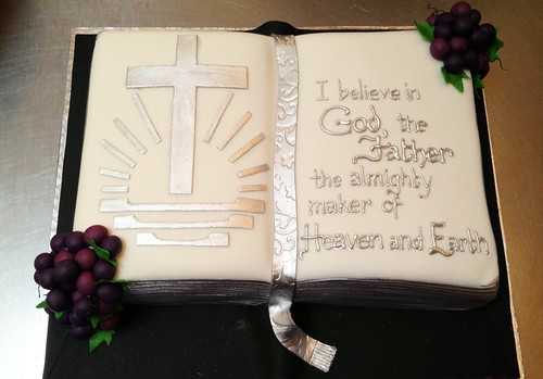 Bible Shaped Birthday Cake With New Apostolic Logo And Fon