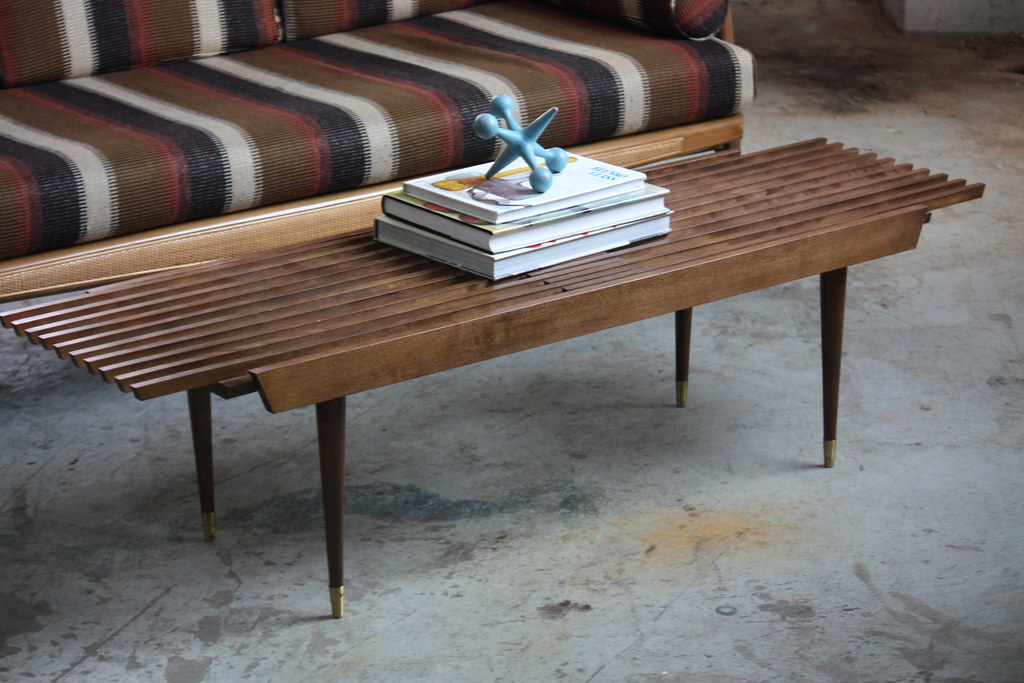... Appealing Mid Century Modern Expanding Slat Bench Coffee Table (U.S.A.,  1950s) | By