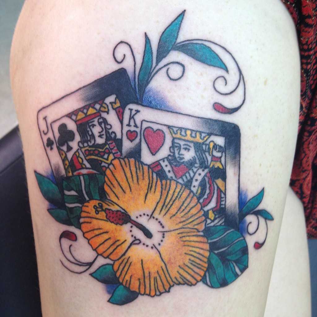 Playing Cards And Hibiscus Flower Traditional Tattoo By Ke Flickr
