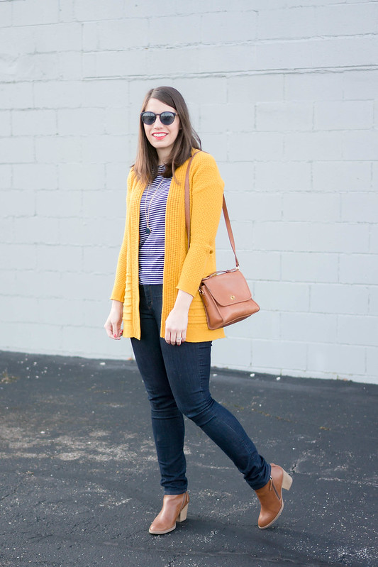 long yellow Old Navy cardigan + navy and white stripe tee + jeans + brown ankle boots | Style On Target blog