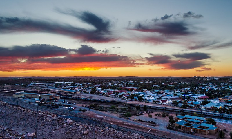 Looking west over the Broken Hill rail yards, just after sunset.