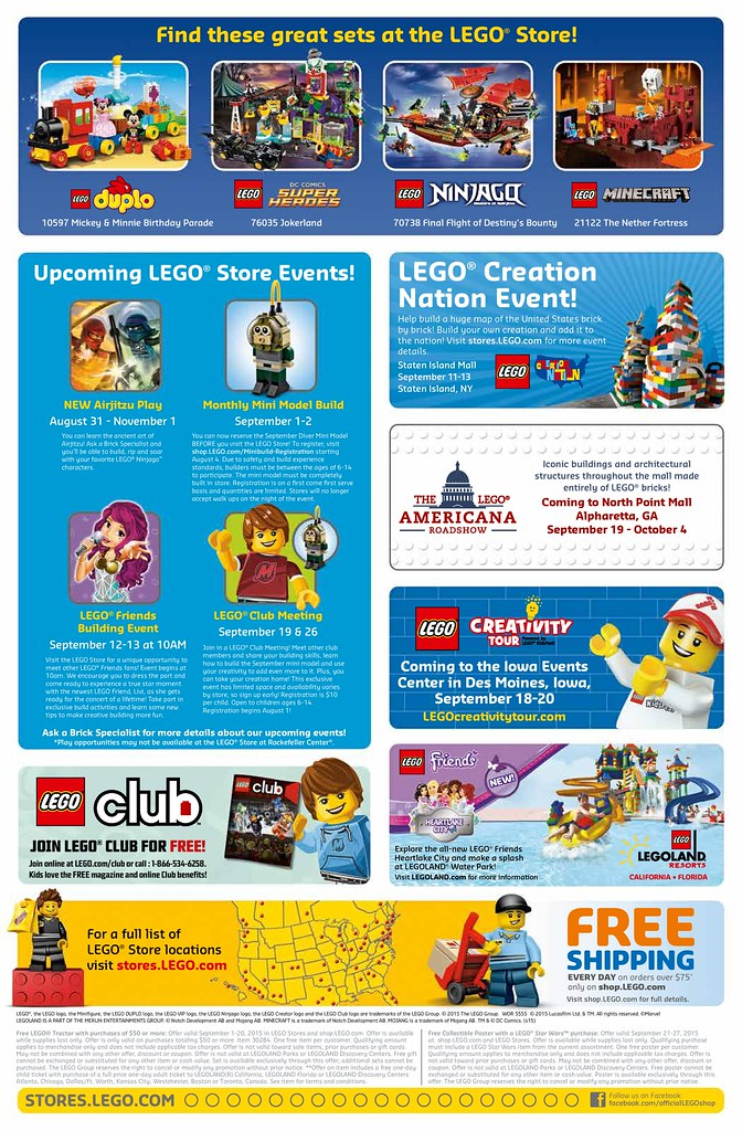 September 2015 LEGO Store Calendar | Read more here: www.the… | Flickr