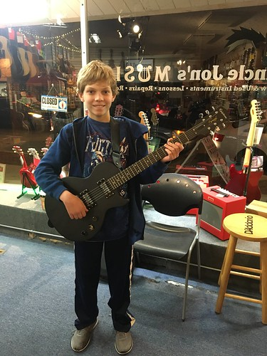 Andrew and his new Les Paul Electric Guitar
