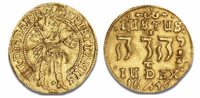 Danish coin with Tetragrammaton issued during the reign of Christian IV gold