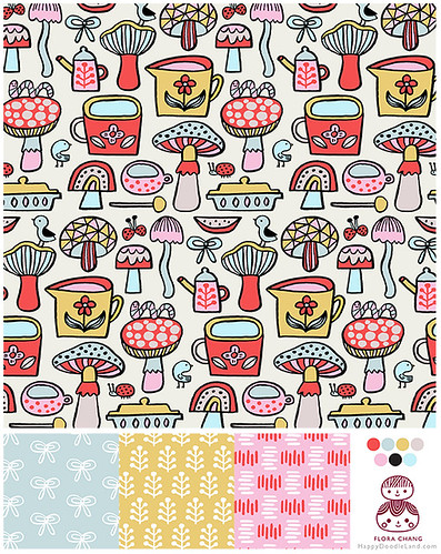 Chuncky Colored Doodles Pattern | by Flora Chang | Happy Doodle Land