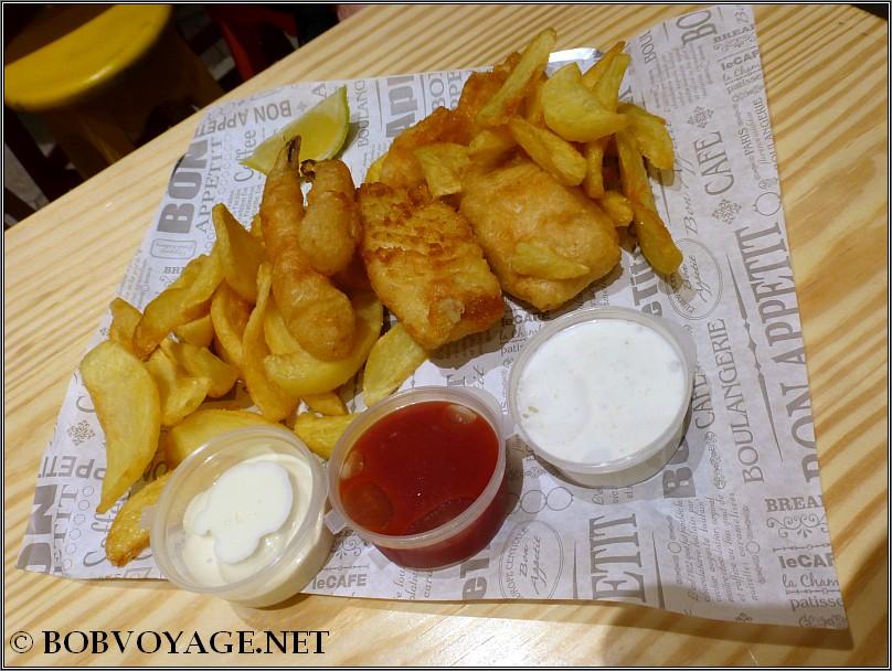 קומבינציית דג, שרימפס וצ'יפס ב- Chipsea King בשוק רוטשילד אלנבי
