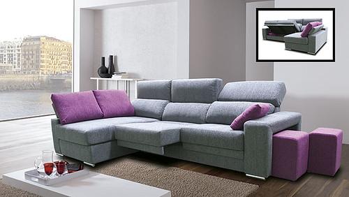 Sofa combinado en color gris y frambuesa bonito sofa de - Sofas comodos y bonitos ...