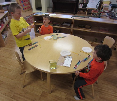 painting coffee filters to make butterflies