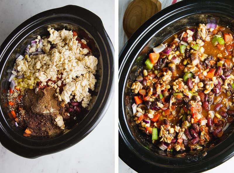 EASY VEGETABLE CHILI: add ingredients, give a good stir