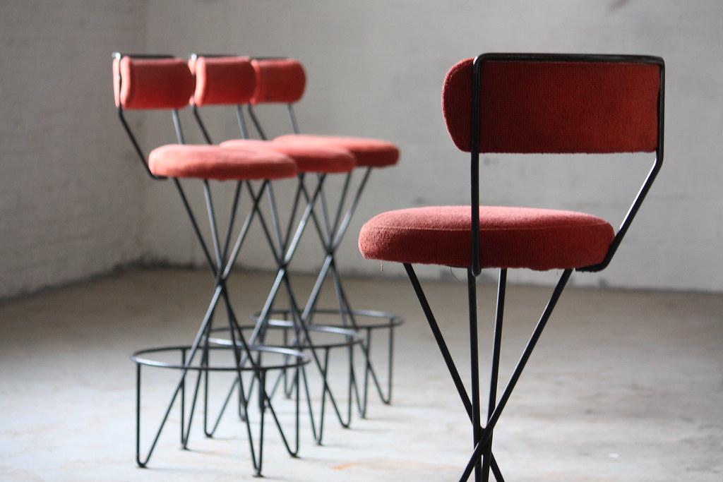 1950s titilating paul tuttle mid century modern wrought iron bar stools california usa 1950s