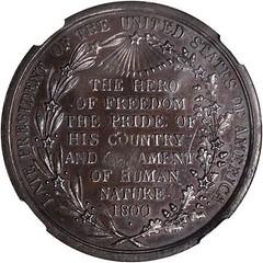1800 Washington Hero of Freedom Medal reverse