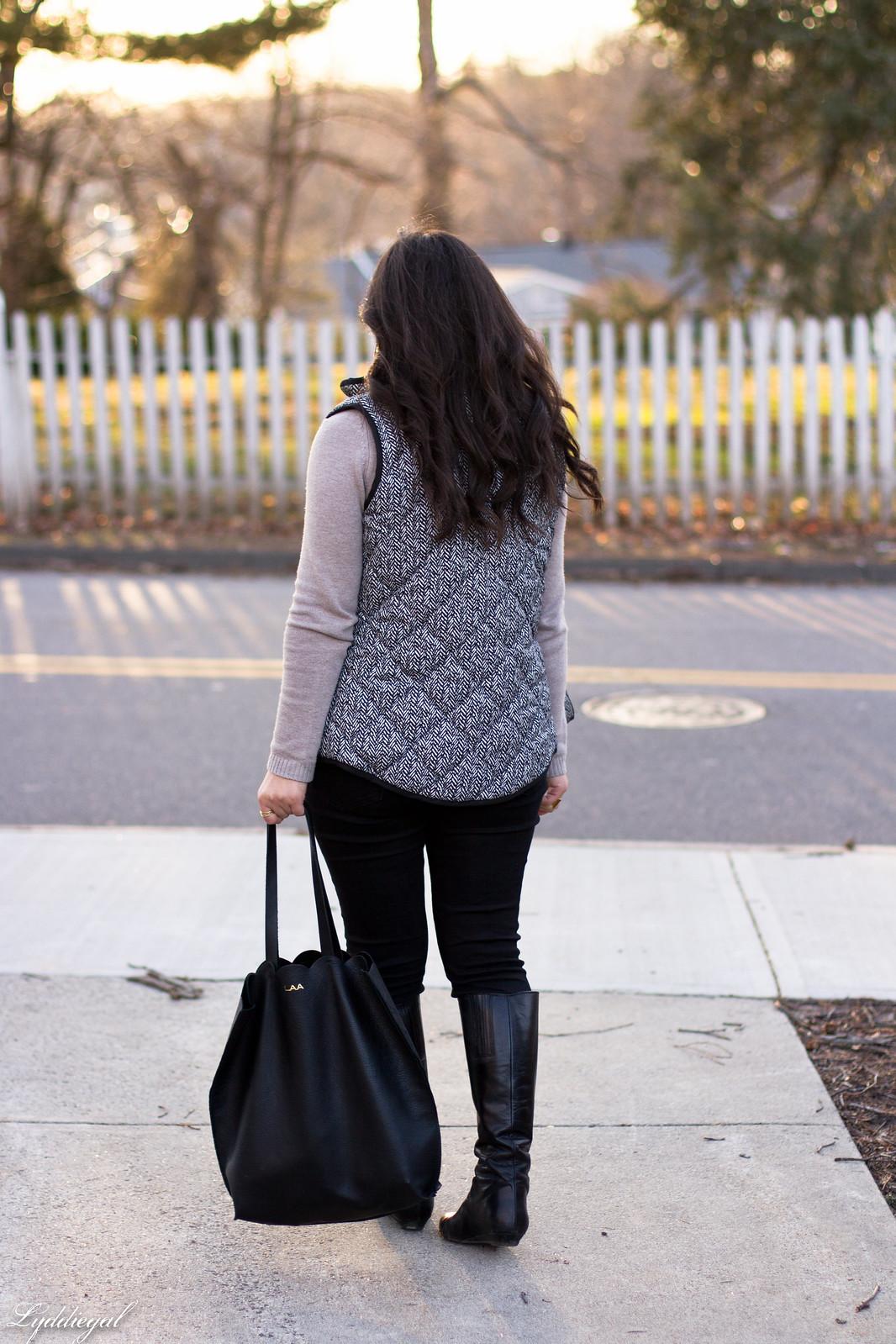 cowl neck sweater, herringbone vest, black jeans, matine scalloped tote-9.jpg