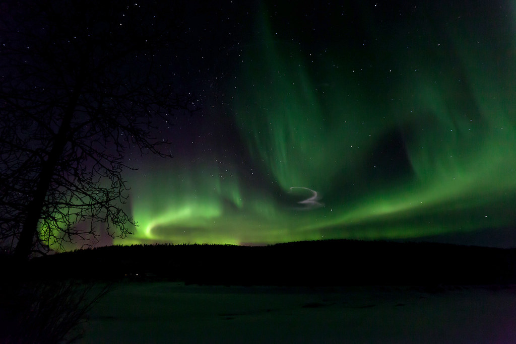 030117 - A Poker Flats Rocket leaves its mark amongst the Aurora