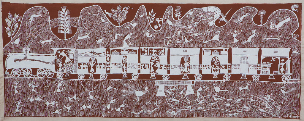 Train warli art maharashtra cow dung and acrylic on co flickr train warli art maharashtra cow dung and acrylic on cotton cloth altavistaventures Image collections