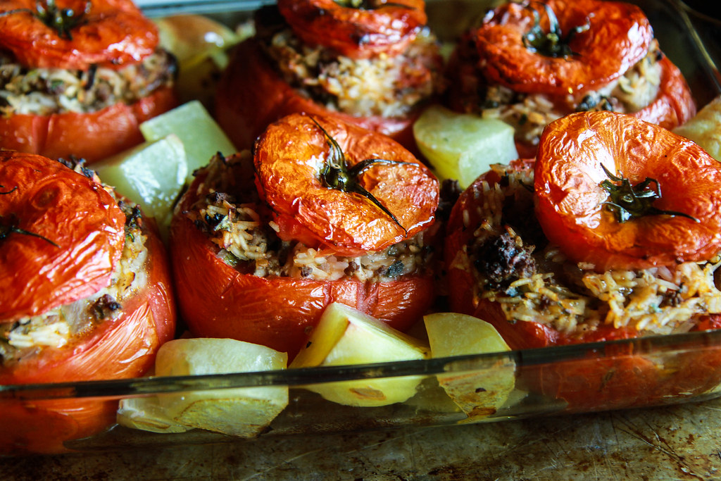 Greek Stuffed Tomatoes from HeatherChristo.com