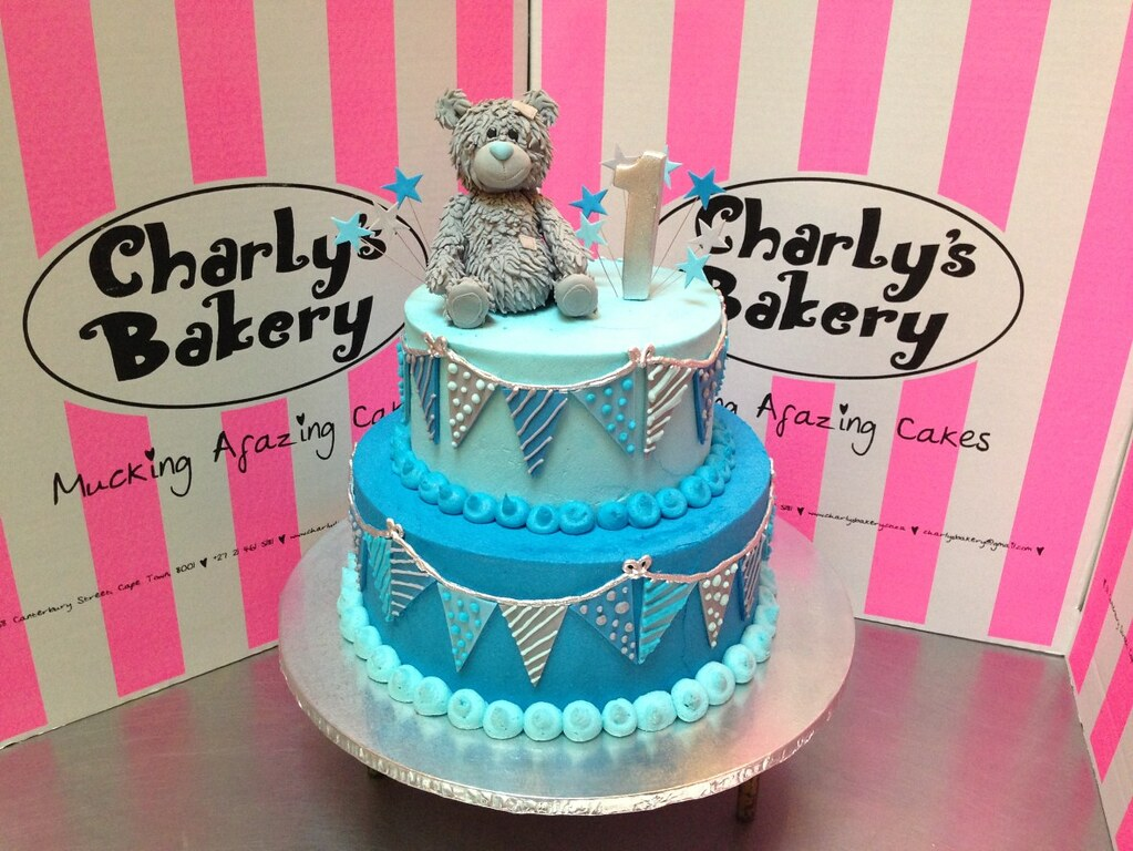 2 Tier Tatty Teddy Themed 1st Birthday Cake Decorated With Flickr