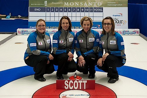 Team Scott — Kelowna Curling Club, Kelowna, B.C.Kelly Scott, Jeanna Schraeder, Sasha Carter, Sarah Wazney, Brent Giles (coach) | by seasonofchampions