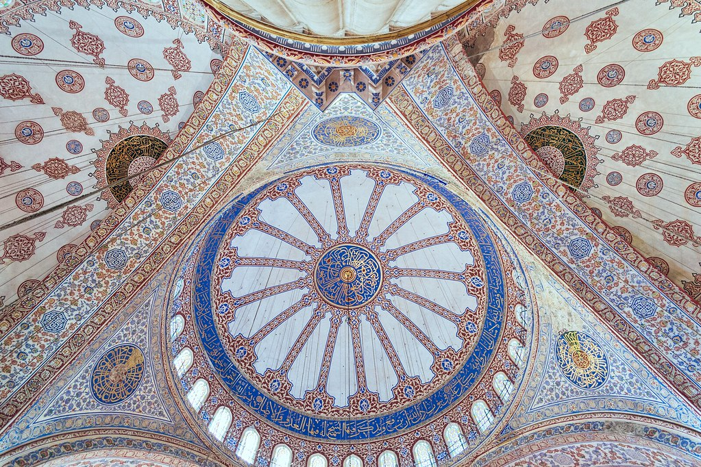 The roof of the Majestic Blue Mosque - istanbul