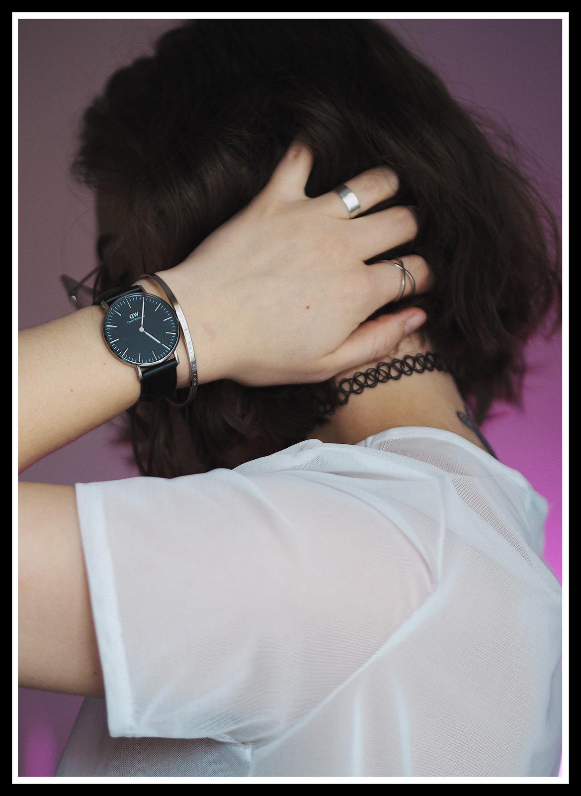 Daniel wellington classic black leather watch