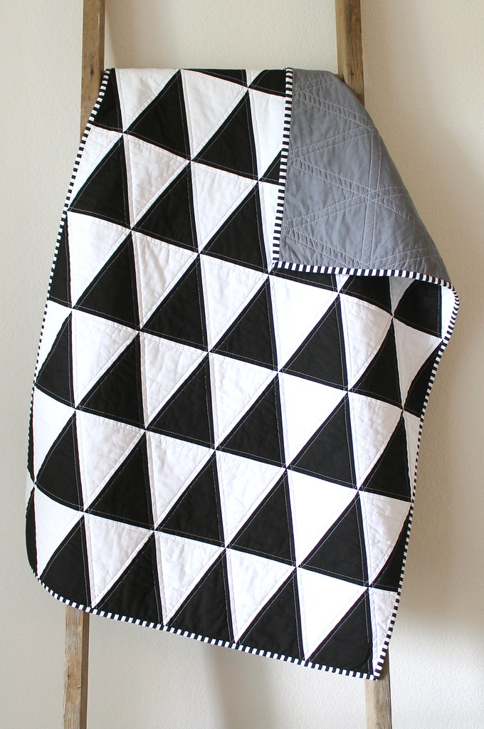 By cb handmade black and white isosceles triangle quilt by cb handmade