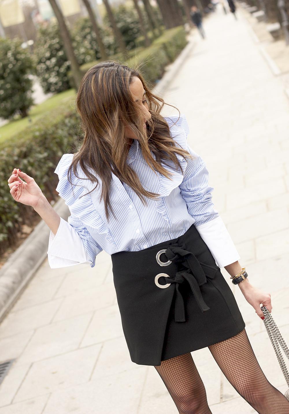 Ruffled striped shirt Fishnet tights black skirt heels gucci bag style fashion outfit 06
