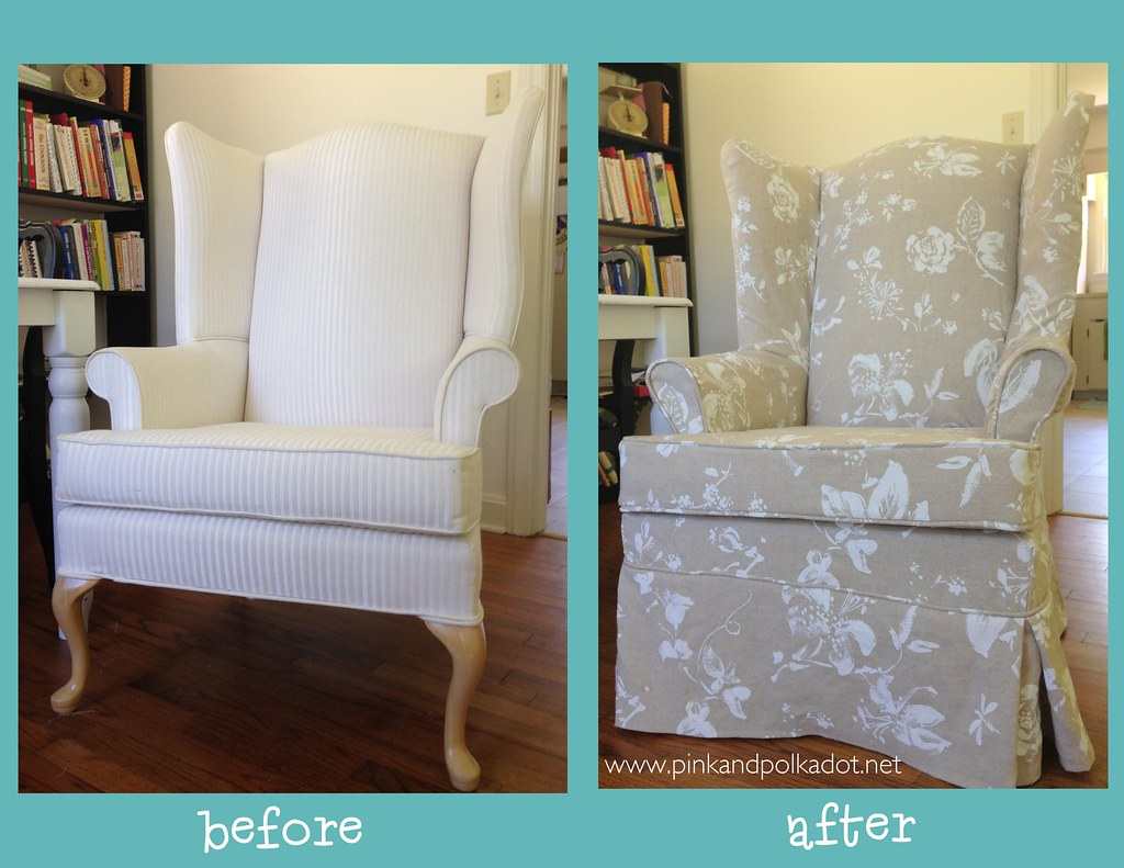 ... Before And After Wing Chair Slipcover | By The Slipcover Girl