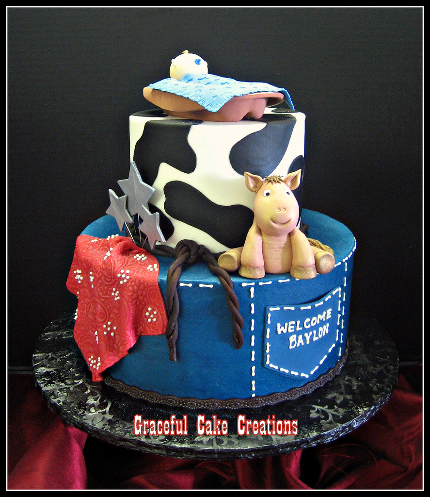 Western Themed Baby Shower Cake With Baby Cowboy And Pony Flickr