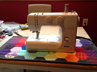 Rainbow hexie sewing machine mat | by staceyomalley
