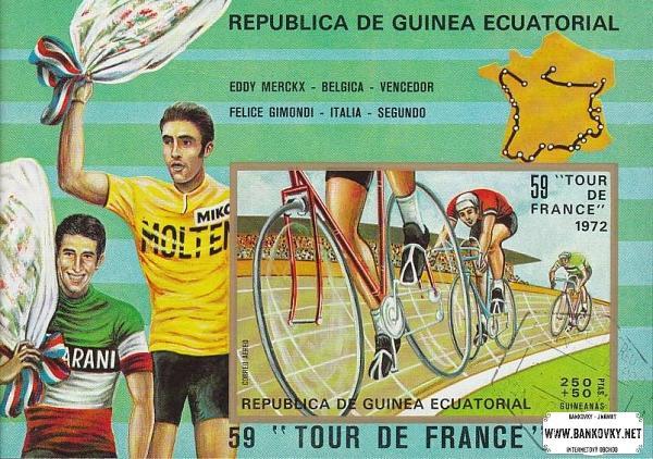 Známky Rovníková Guinea 1973 cyklistika, razítkovaný hárček