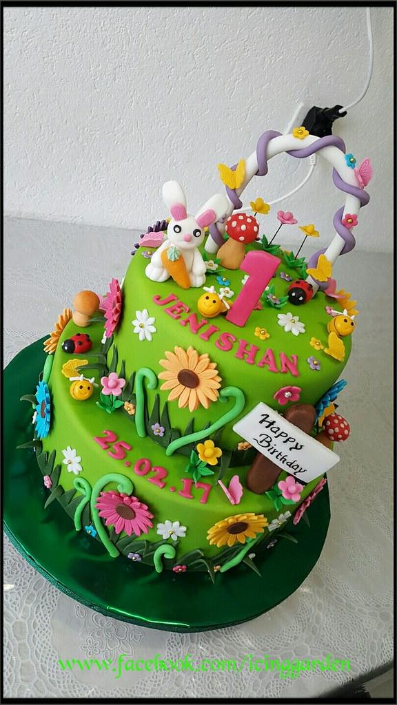 birthday cake garden design cake fondant cake icing cake by shobana shanthakumar