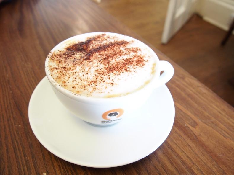 Tea Room at the Botanics, Glasgow, cappuccino
