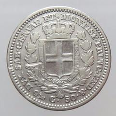 1833 Kingdom of Sardinia 50 Cent reverse
