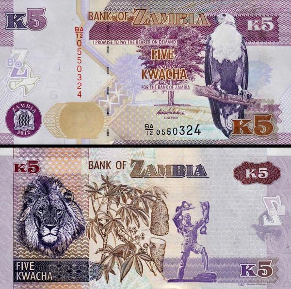 5 Kwacha Zambia 2012-15, P50 UNC